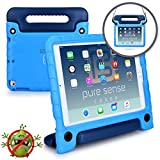 Apple iPad 6 Case for Kids, iPad 5 Case for Kids, Air 2 Case, Air 1 Case [Anti Microbial iPad Kids Case] Pure Sense Buddy Child Proof Shock Protective Cover for Boys | Shoulder Strap, Handle (Blue)