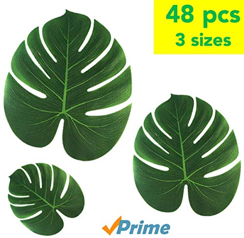 TIQS Artificial Tropical Palm Safari Leaves for Party Decoration Supplies - 48 Mixed PCS: Small+ Medium + Large - Tropic Jungle & Hawaiian Decor Art- Placemats Green Fake Long Leave - Free E-Book