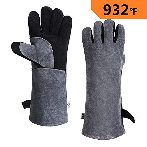 CCBETTER Leather Welding Gloves 932℉ Heat & Fire Resistant BBQ Gloves with Long Sleeve for Fireplace,Stove,Grill,BBQ,Forge,Tig Welder,Mig Welding (Black-gray)