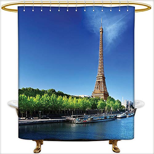 urtain Sets Seine in Paris with Eiffel Tower Sunrise Time Trees River Grass Nature Panorama Soft Touch Waterproof Thick Polyester.W54 x H84 Inch ()