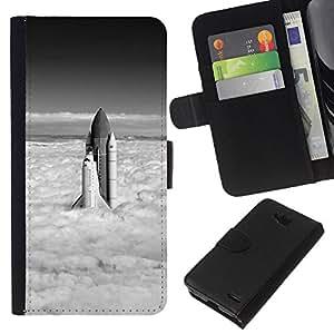 NEECELL GIFT forCITY // Billetera de cuero Caso Cubierta de protección Carcasa / Leather Wallet Case for LG OPTIMUS L90 // Space Shuttle Nubes