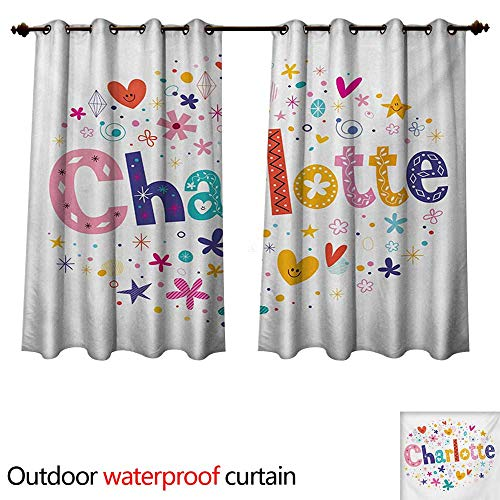 Charlotte Outdoor Curtain for Patio Happy Smiling Stars and Hearts Joyous Composition of Colorful Female Name Design W55 x L72(140cm x 183cm) from WilliamsDecor