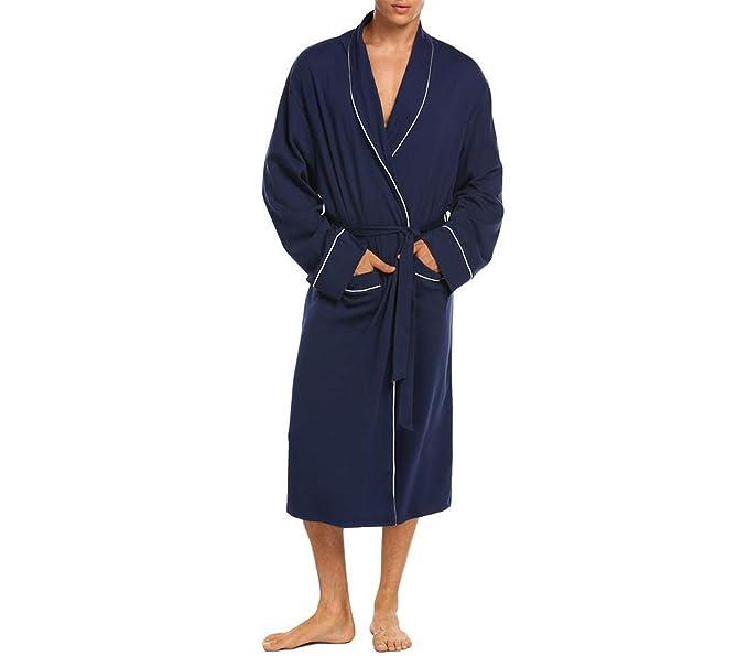 Hombres Cálido Traje Largo Kimono Albornoz Suave Cuello Chal Manga ...