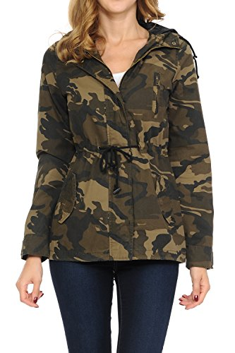 Women's Versatile Military Safari Utility Anorak Street Fashion Hoodie Jacket Brown Camo (Camo Utility Jacket)