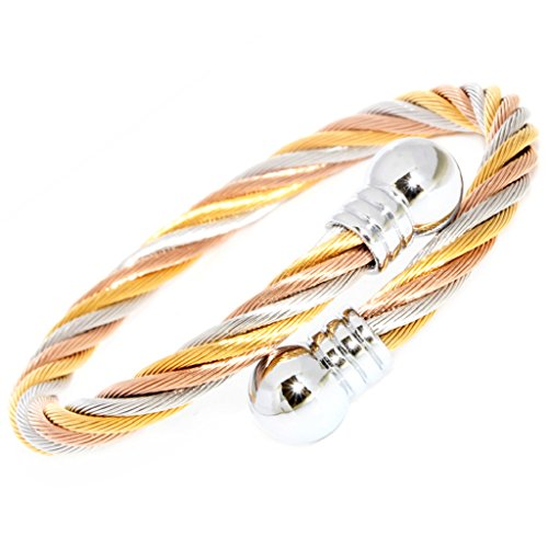 Silver Ball Cap Gold Rose-Gold Silver 3-Tone Twisted Cable Wire Stainless Steel Bangle Bracelet 028