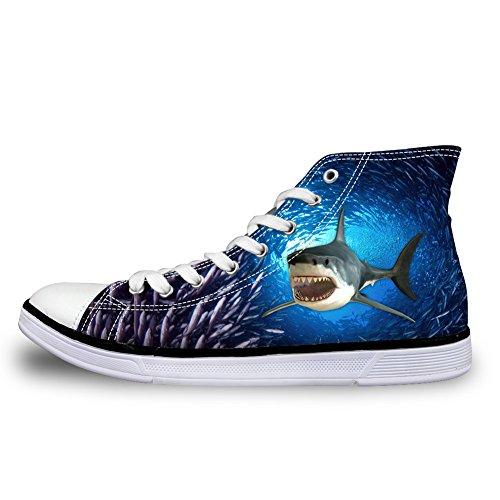 Walking Shoes Animal Design Top Sneakers 6 Coloranimal 3D Women Sea Canvas Classic Shark High gHqzf