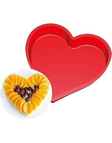 Wa Moldes de silicona para tartas con forma de corazón grande, molde para