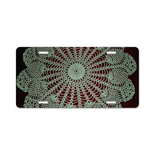 Faneilme Pineapple Mint Doily Auto License Plate Sign Tag Size Home Pub Bar Decor 6 X 12 Inch