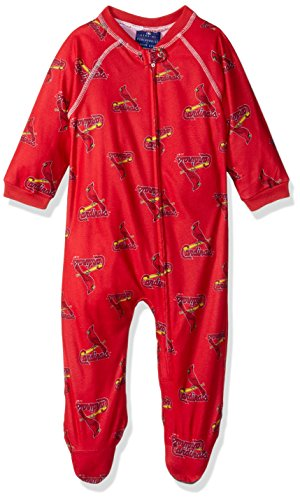 - MLB Infant Cardinals Sleepwear All Over Print Zip Up Coverall, 24 Months, Athletic Red
