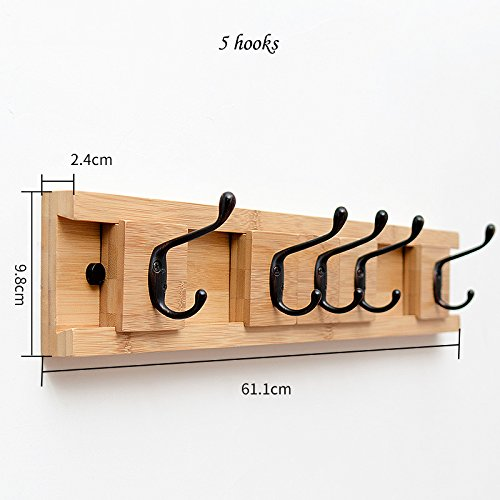COAT RACK Antique Wooden Hooks Can Be Moved Heavy Duty Clothes Hat Holder Choose From 3 Up To 8 Hooks (Size : 5 hooks) by COAT RACK