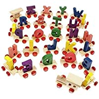 rutvi trader Wooden A to Z Train Set || Multiple Coloured || 26 Alphabet with Engine and Last Trail in Fine Finish Quality