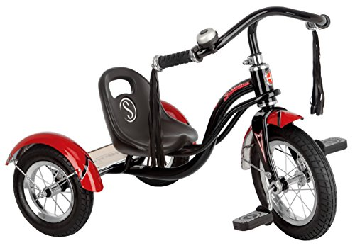 Schwinn Roadster Tricycle with Classic Bicycle Bell and Handlebar Tassels, Featuring Retro Steel Frame and Adjustable Seat, for Children and Kids Ages 2-4 Years Old, Black (Something To Look Forward To Someone To Love)