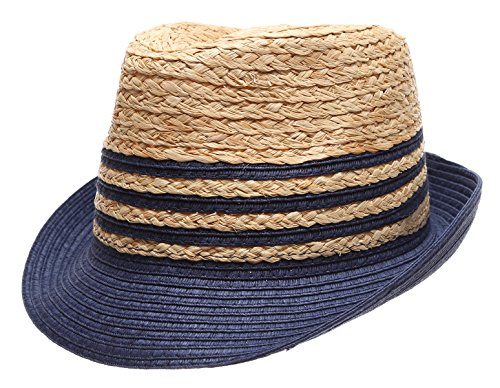 Summer Trilby Short Brim Sun Straw Fedora Hat Cap with Color Striped.(Navy)