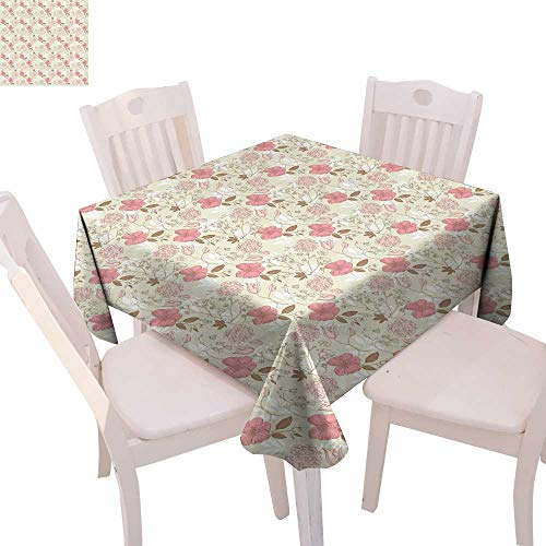 cobeDecor Vintage Dinning Tabletop DecorArtistic Floral Doodle Flourish Spring Garden Growth Feminine Pattern Table Cover for Kitchen 70