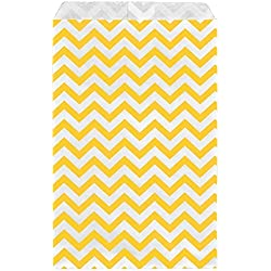 "888 Display USA - 200 pcs Chevron Paper Gift Bags Shopping Sales Tote Bags (Yellow, 5"" x 7"")"