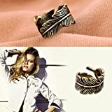 Stylish Bronze Coloured Finger Ring In Wrap Around Feather Shape By VAGA