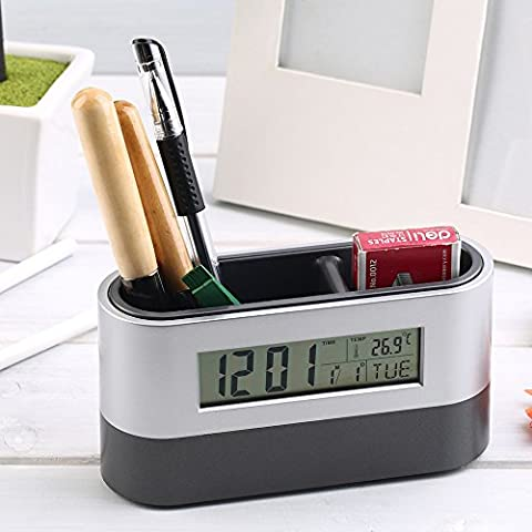 Homily Multifunctional Home Office Digital Snooze Alarm Clock Pen Holder Calendar temperature Display Black Blue Good Quality - Navy Blue Chrome Pen