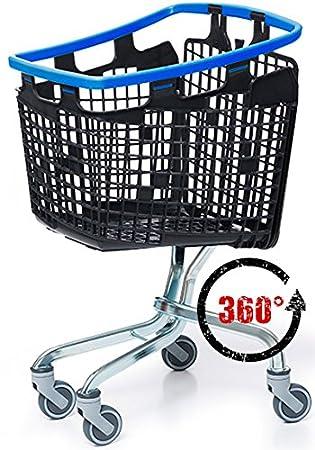 Avaven 100 L Loop 360 Grado plástico Ahorro de Espacio supermercado Carrito de la Compra, Blue Handle, 100 litres (H 101cm x W 57cm x D 59cm): Amazon.es: ...