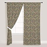 AZ Tiled Art Door & Window Curtain Satin 4feet x 7feet; SET OF 3 PCS