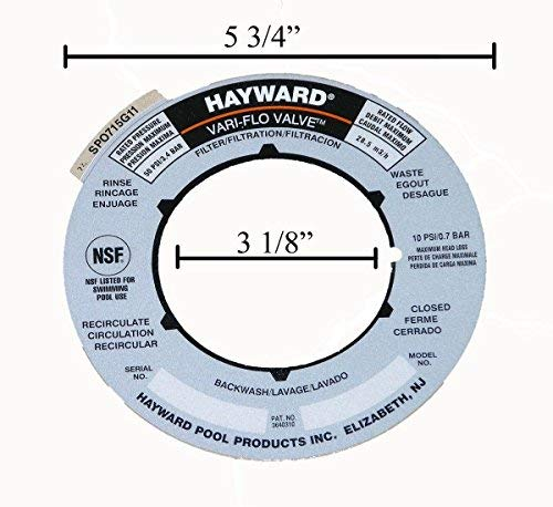 (Hayward Sand Filter Valve Label Plate Sticker SPX0715G)