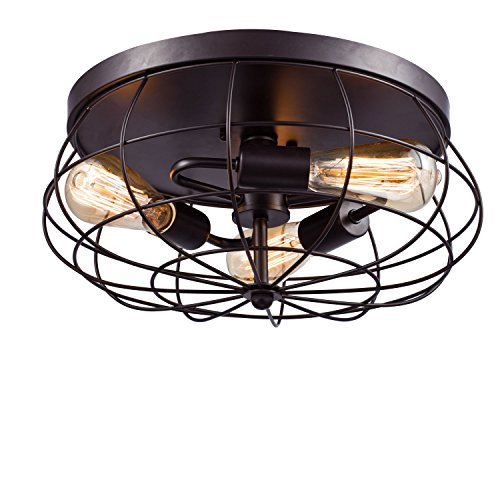 Vintage Industrial Metal Cage Ceiling Light - MKLOT E26 Rustic 3-Light Black Pendant Lighting Semi Flush Mounted 15.75