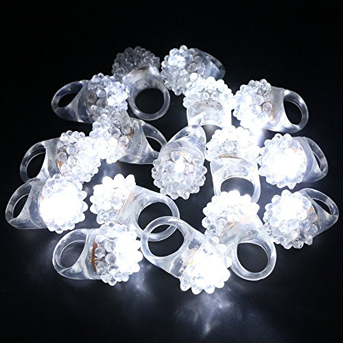 LACGO Party Favor Cool White LED Soft Rubber Ring, Soft Rubber Transparent Ring White LED Flashing Jelly Bumpy Rings for Party, Night, One Size Fits All (Pack of 12)]()