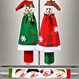 Sheskind Snowman Kitchen Appliance Handle Covers Christmas Handle Protector 3 Packs with Gift Snowman Welcome Ornament for Holiday Season Decoration