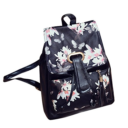 Girls Leather School Bag Travel Backpack Satchel Print Rucksack B(OneSize,B) -