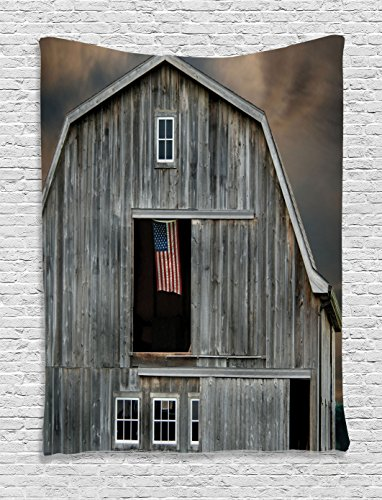 American Bedroom Farmhouse Collection - Ambesonne Farmhouse Decor Collection, American Flag Flying in a Hayloft Window Wooden Old House Dark Evening View, Bedroom Living Room Dorm Wall Hanging Tapestry, Beige Dimgrey