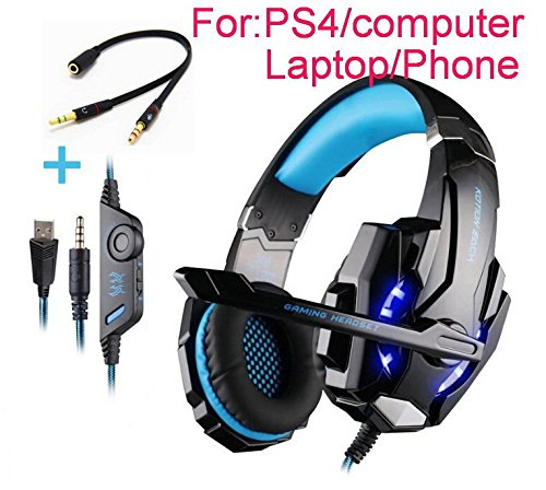 Beyda Tech NEW Gaming Headset Game Headphone Headsets with Microphone LED Light 3.5mm for PS4 Computer.Laptop.Tablet.All Mobile Phones with Noise Cancelling & Volume Control - Type Drive 23 Units