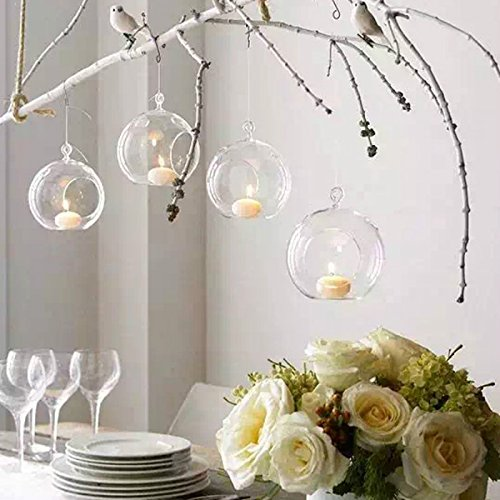 Sziqiqi 80MM Hanging Tealight Holder Glass Globes Terrarium Wedding Candle Holder Candlestick (10 ()