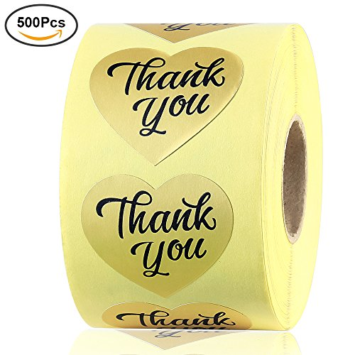 Vankey Gold Foil Thank You Sticker Label Decorative Sealing Sticker, 500 Stickers 1.5 Love Heart Shape (1 Roll)