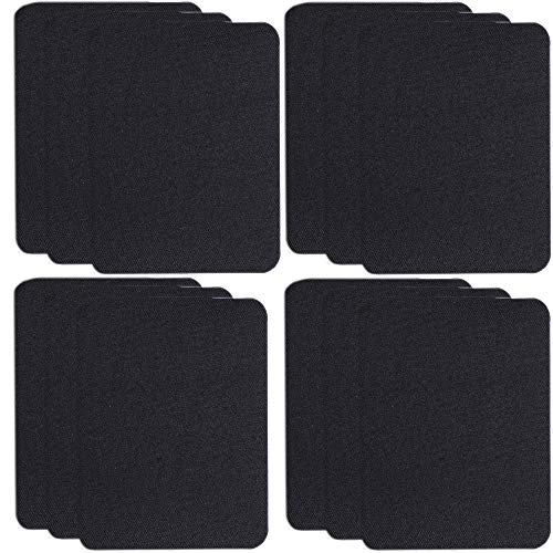 SHELCUP 12PCS Iron on Patches for Clothing Repair , Denim Patches for Jeans Kit,Iron for Inside/Outside Jeans & Clothing Repair, Black