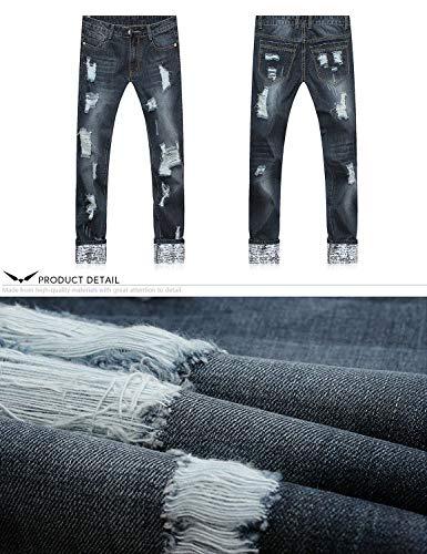 Regular Destroyed Denim Dritto Degli Fori Di Serie 802r7xblau Semplice Uomini Fit Pantaloni 802r Jeans Tagliare I In Stile w5aqxz6