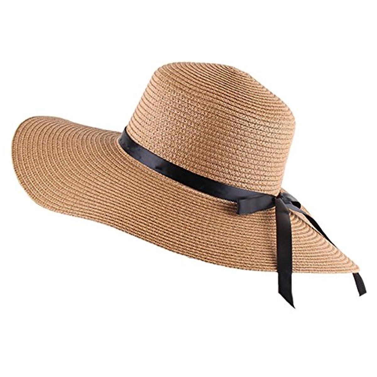 d6707472 Women's Big Brim Sun Hat Floppy Foldable Bowknot Straw Hat Summer ...