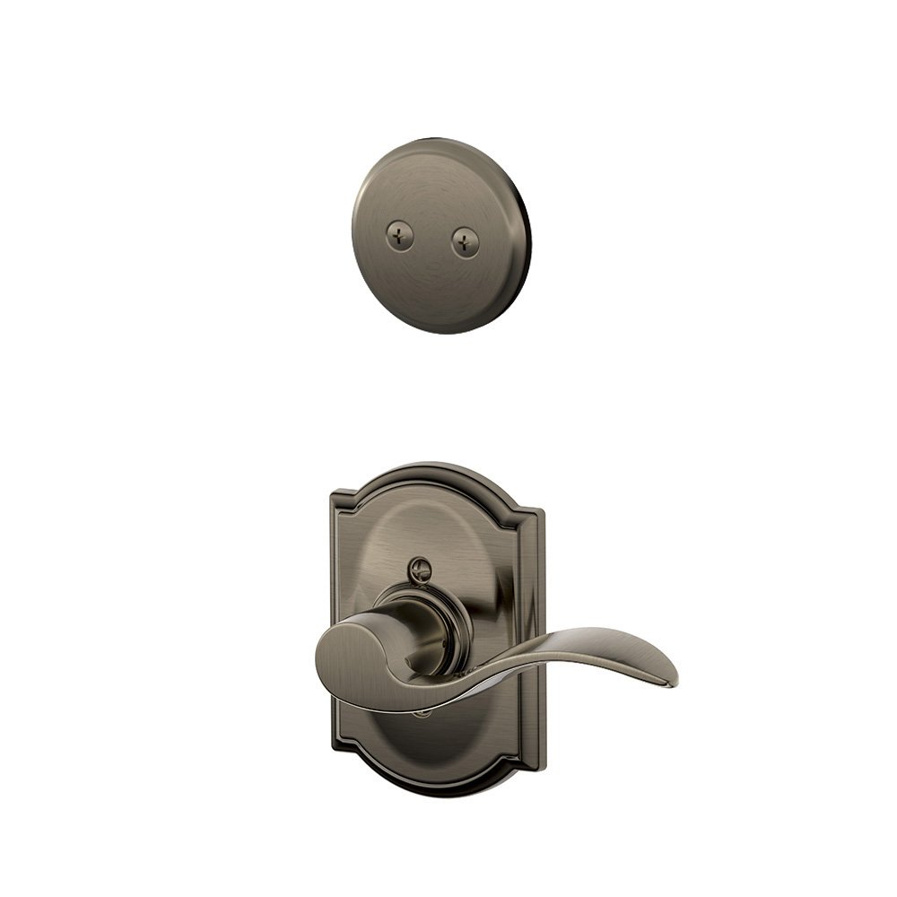 Schalge F94ACC620CAMLH Antique Pewter Interior Pack Accent Lever Left Handed Dummy Interior Pack with Deadbolt Cover Plate and Decorative Camelot Rose