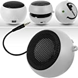 N4U ONLINE WHITE SUPER SOUND RECHARGEABLE MINI POCKET SIZE PORTABLE SPEAKER 3.5MM AUDIO JACK BUILT IN WITH USB CHARGER LEAD SUITABLE FOR SONY ERICSSON X10 MINI