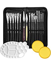 Lakobos Oil Paint Brushes Sets Professional Artist Acrylic Brush Kits for Watercolor Canvas Painting - 15 Sizes Brush 1 Paint Palette 1 Standing Organizer 2 Mixing Knives 2 Watercolor Sponges 21Pack
