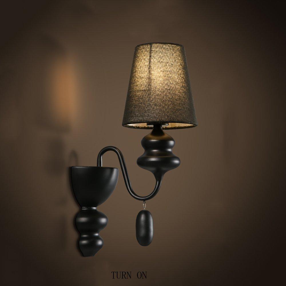 prendi l'ultimo LWFB Lampada da parete parete parete creativa del ferro Lampada da comodino calda Soggiorno Corridoio della camera da letto Balcone Lampada da parete moderna in stile europeo ( colore   Nero , dimensioni   La luce gialla )  design unico