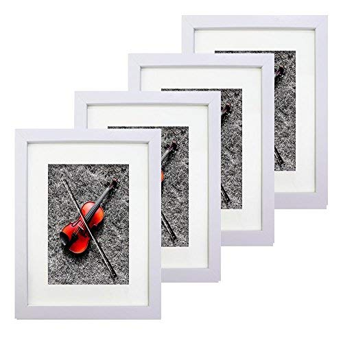 White Portable Home Picture Frame 8 x 10 inch Pack of 4 - Display 5x7 Family Pictures with Mat or 8x10 Without Mat Plexiglass Cover 4-Pack Photo Frame Set for Wall Hanging & Tabletop Standing