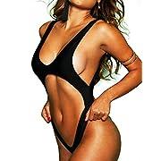 Fittoo Women Cut-Out One-Piece Cross Back Swimsuit Black/White Swimwear Thong Monokini Trikini 2018 Female Bathing Suit S