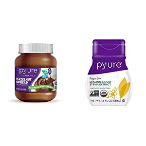 Organic Hazelnut Spread with Cocoa by Pyure | Keto Friendly, No Palm Oil, Vegan, Peanut Free, 13 Oz & Pyure Organic Liquid Stevia Extract Sweetener, Vanilla, Sugar Substitute, 100 Servings, 1.8 Fl. Oz