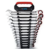 Capri Tools Ratcheting Wrench Set, True 100-Tooth, 3.6-Degree Swing Arc, 1/4 to 1 in., SAE, 13-Piece in a Convenient Wrench Rack