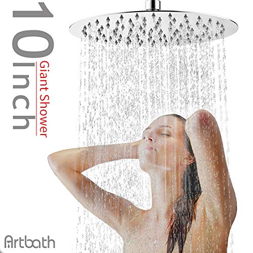 d Large Rain Shower Head Ultra Thin 304 Stainless Steel with Showerhead Swivel Metal Ball Connector Chrome Finish ()