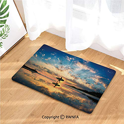 Doormat Surfer Walking Before Horizon with Cloudy Sky Coastal Charm Image Non Slip Washable Water-Absorbent Floor Mats for Kitchen Bedroom,Anti-Fatigue Rugs Carpet,Violet Blue Sepia
