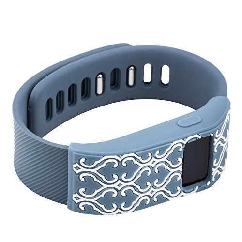 Slate Cover (WITHit XO Your Sister Designer Sleeve compatible with the Fitbit Charge/Fitbit Charge HR - Band Cover - Arabesque slate/white)