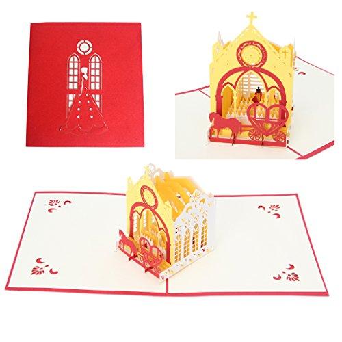 JUA PORROR 3D Pop Up Church Greeting Card Paper Cut Postcard Birthday Valentines Party (Halloween Catholic Church)