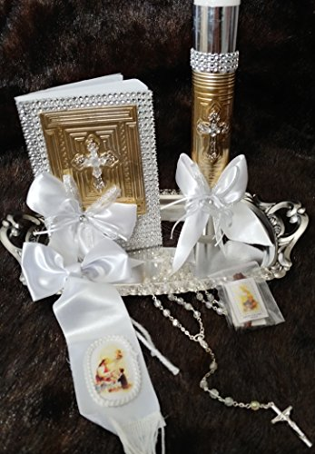 First Communion Boy Holy trinity Deluxe Set, Book, Silver Rosary And Hand Decorated Candle, English Set