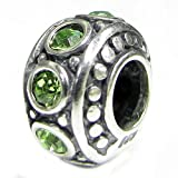 Sterling Silver Simulated August Birthstone European Style Bead Charm
