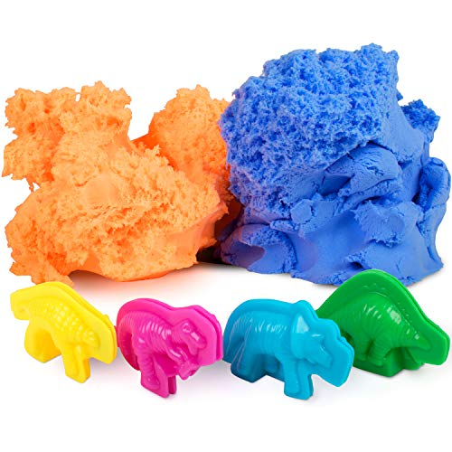 Modeling Clay for Kids Ð Fluffy Putty Play Dough Foam, Floof Like Kenetic Sand Molding Clay w/ 4 Dinosaur Molds Boys Girls Therapy Sensory Toys